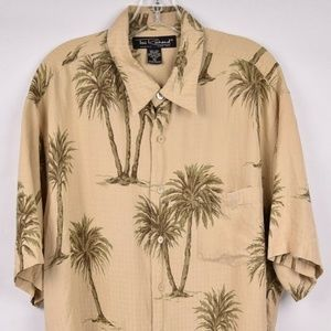 Tori Richard Mens Shirt Hawaiian Palm Tree Pearl B